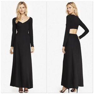 Express Black Open Back Long Sleeve Maxi Dress